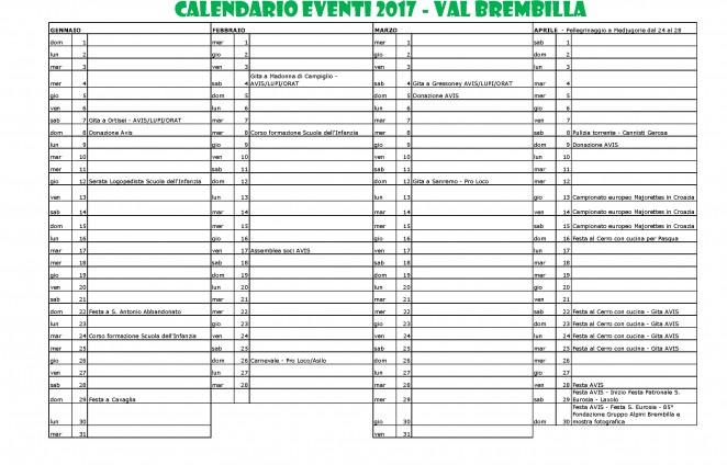 Calendario Lunare Dicembre 2017.Val Brembilla Eventi Escursioni Turismo Prodotti Tipici